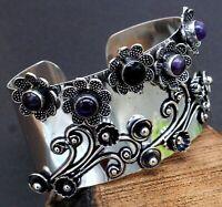 Handmade 925 Sterling Silver Purple Amethyst Gemstone Jewelry Cuff Bracelet S7-8