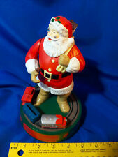 "1993 ERTL Mechanical Bank 8"" COCA COLA Santa Claus Train Metal Toy Xmas Plastic"