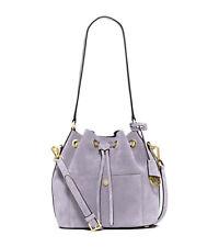 $298 MICHAEL MICHAEL KORS Medium Greenwich Suede Bucket Leather Bag in Lilac
