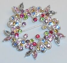 Brooch, SFPewter, Brass, Glass Rhinestone, Multi-Color, Wreath, Fashion Jewelry