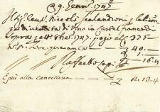 Pagamento Licenza di Vendita di Vino in Castelfranco di Sopra 1747