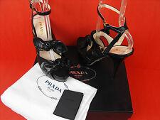 Prada Black Crocodile Print Leather Burgundy Bow Sandals PUMPS 41 10