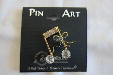 Spoontiques Pin Art Music Brooch Musical Note J1084 Austrian Crystal