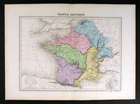 1877 Migeon Map Physical France French Alps Pyrenees