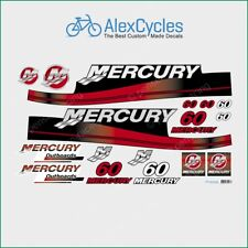 MERCURY 60 HP Outboard Replacement Laminated RED Decals Kit Set Marine Boat