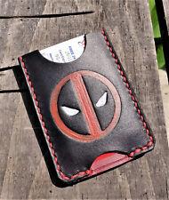 Handmade MINUS Minimalist Leather Wallet Black Red Deadpool