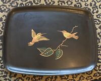Couroc of Monterey black serving tray humming birds green leafs brown branch