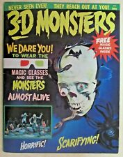 3-D MONSTERS MAGAZINE -1964 1ST HISTORIC ISSUE -COMPLETE WITH 3-D GLASSES - FINE