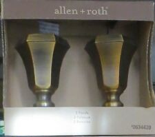 "2 Sets=4 Allen Roth Weathered Brass Finials for 1"" Dia. Curtain Rod Hardware"