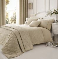 NATURAL WHITE BEIGE FLORAL PIPED EMBROIDERED SINGLE 5 PIECE BEDDING SET
