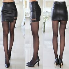 Women Winter Sexy Faux Leather Skirt Hollow Dance Clubwear Short Bodycon Dress