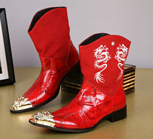 Men Leather Cowboy Boot Motorcycle Western Point Metal Toe Black Red