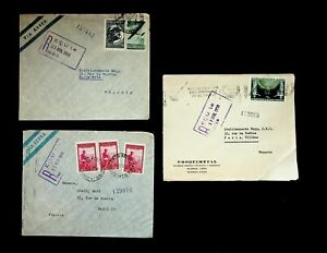 ARGENTINA 1950-51 3 AIRMAIL COVERS W/ 6v, FROM BUENOS AIRES TO PARIS FRANCE