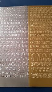 Peel Off stickers - Capital  Alphabet - gold /silver  x 2 sheets