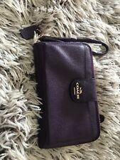Coach Leather Universal Pocket Phone Wallet Purple