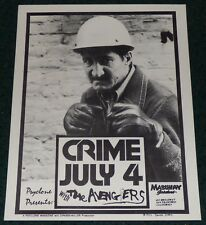 CRIME THE AVENGERS 1977 MABUHAY SAN FRANCISCO ORIGINAL CONCERT FLYER JAMES STARK