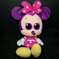 "Disney Minnie Mouse Pink Purple Sparkle Glitter Eyes Plush Stuffed Animal 14"""