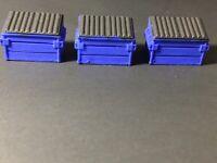 3 HO SCALE 1:87 Scale Blue Dumpster Or Dumpster Bin Hand Painted Model Dumpster