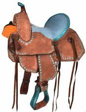 """10"""" Western Youth Barrel Trail Saddle Teal Seat & Buckstitch Horse or Pony FQHB"""