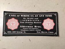 Vintage Alderman Bros. Printers & Publishers Advertising Blotter New Haven Ct