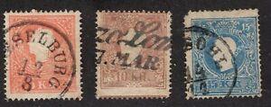 AUSTRIA    Sc. used  #9,10,11 Emperor Franz Josef  14.5P   1858-59