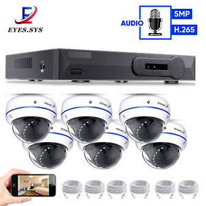 Eyes.sys P2P H.265 POE NVR 6pcs FULL 5MP AUDIO Dome Camera CCTV Security System