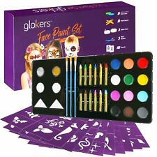 Face Paint Set Contains Cake Paints Crayons Paint Brushes Glitter And Stencils,