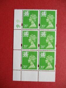 SGW72 Elizabeth II Wales 1996 20p Bright Green Questa Cylinder Block 2 MNH