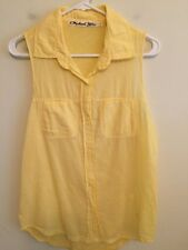 5477)  MICHAEL STARS sz 1 or M yellow button down blouse shirt sleeveless