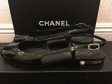 NIB NeW CHANEL CC Pearl Black Patent Leather Ballerina Ballet Flat 39.5 C 8.5 9