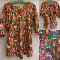 Vintage Top Ties In Back One Front Pocket Girls & Flowers Print 60s 70s Smock