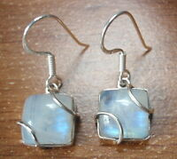 Moonstone Caged Squares 925 Sterling Silver Dangle Earrings Corona Sun Jewelry