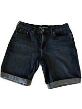 Calvin Klein Size 12 Blue Jean Shorts Black Label Watch Pocket Cuffed 68% Cotton