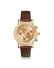 Versace Women's VLB070014 Day Glam Chronograph Gold IP Steel Leather Watch