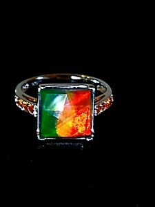 CANADIAN AMMOLITE AND FIRE OPAL STERLING SILVER RING WITH LIFETIME WARRANTY