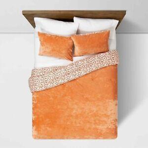 Opalhouse- Rust Reversible Velvet Leopard Print Comforter & Sham Set, Full/Queen