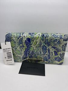 Brahmin AnnMarie Green Viper Melbourne Embossed Leather Wallet Msrp $215