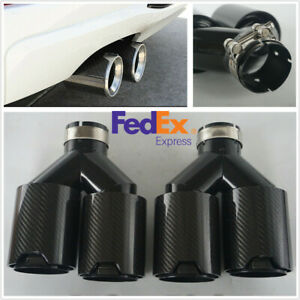 63mm Stainless Steel+Carbon Fiber Y Style Car Exhaust Tail Dual End Tips Pipe US