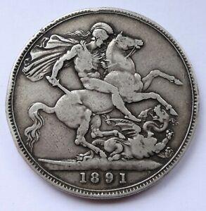Silver Crown coin 1891 Queen Victoria Jubilee head, FINE condition - Ref 1245