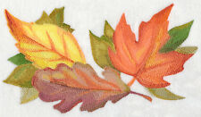 Watercolor Fall Leaves SET OF 2 BATH HAND TOWELS EMBROIDERED BY LAURA
