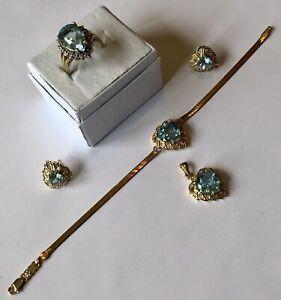 10K YELLOW GOLD BLUE TOPAZ FULL PARURE PENDANT BRACELET RING & EARRINGS