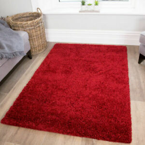 Warm Red Shaggy Rug Modern Thick Living Room Rugs Small - Large Soft Bedroom Mat