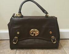 Emma Fox NWOT Satchel Purse Classic Bag Top Handle Flap Genuine Leather Brown