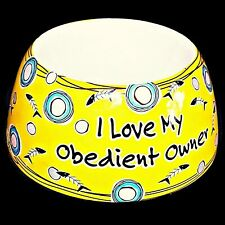 Ganz I Love My Obedient Owner Kitty Cat Pet Food Feeder Ceramic Dish Water Bowl