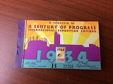 Tickets from the 1934 Century of Progress in Chicago