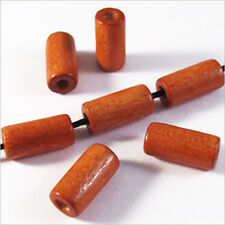 Lot de 50 Perles en Bois Tubes 6 x 12 mm Rouge Orangé