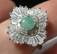 Beautiful STERLING SILVER Real Emerald Gem Stone Art Deco Revival RING Size O 7