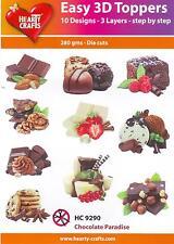 *10 gestanzte 3D Motive Glitter Toppers Chocolate Paradise Schokolade  (9290