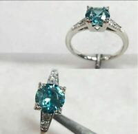 1.50Ct Round Cut Blue Moissanite Diamond Engagement Ring 925 Sterling Silver