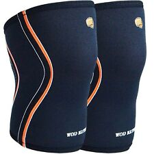 A Pair of Wod Nation Knee Sleeve. Black Large 5mm Neoprene Compression Band.